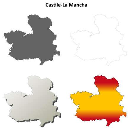 mancha: Castile-La Mancha blank detailed outline map set Illustration