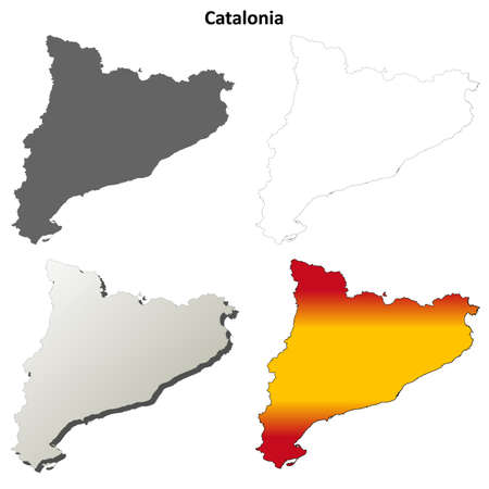 Catalonia blank detailed outline map set - Spanish version