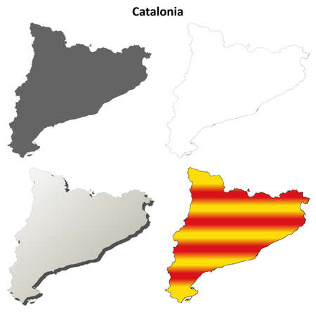 Catalonia blank detailed outline map set - Catalan version