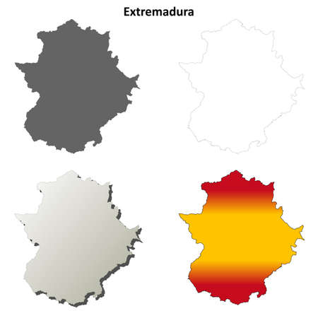 extremadura: Extremadura blank detailed vector outline map set