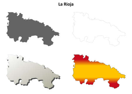 rioja: La Rioja blank detailed outline map set Illustration