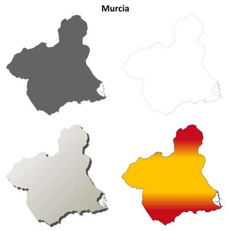 coastlines: Murcia blank detailed vector outline map set Illustration
