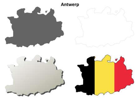 antwerp: Antwerp blank outline map set - Belgian version