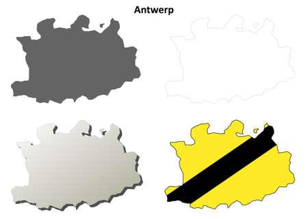 flemish: Antwerp blank outline map set - Flemish version
