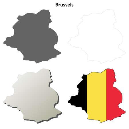 detailed: Brussels blank detailed vector outline map set