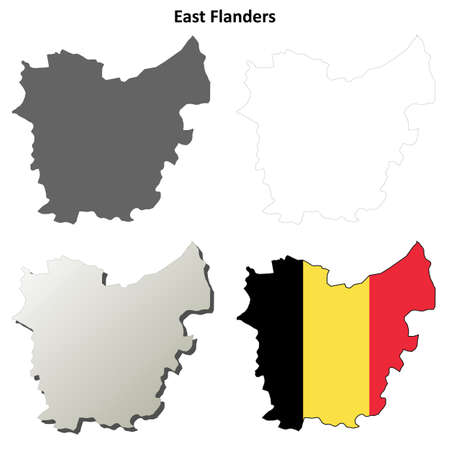 flanders: East Flanders voutline map set - Belgian version