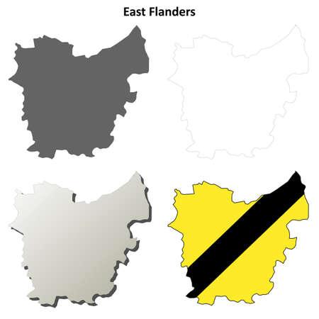 flemish: East Flanders blank outline map set - Flemish version