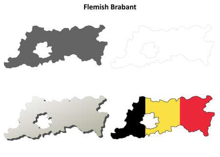 Flemish Brabant blank outline map set - Belgian version Illustration
