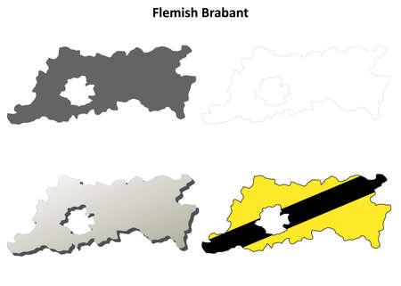 flemish: Flemish Brabant blank outline map set - Flemish version