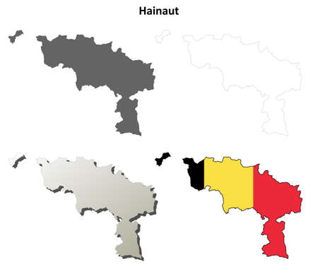 wallonie: Hainaut blank outline map set - Belgian version Illustration