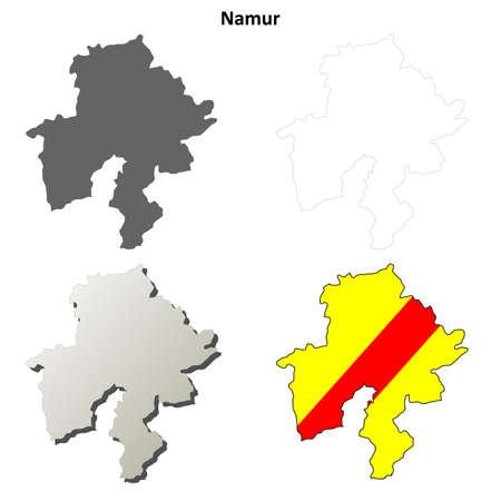 wallonie: Namur blank outline map set - Walloon version