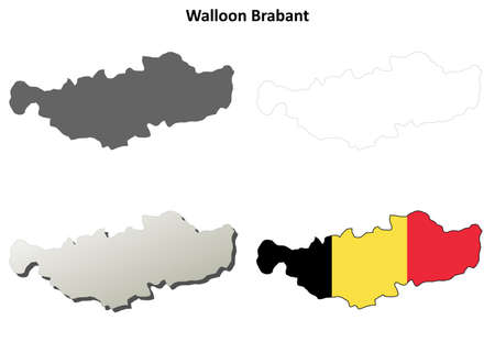 walloon: Walloon Brabant blank outline map set - Belgian version