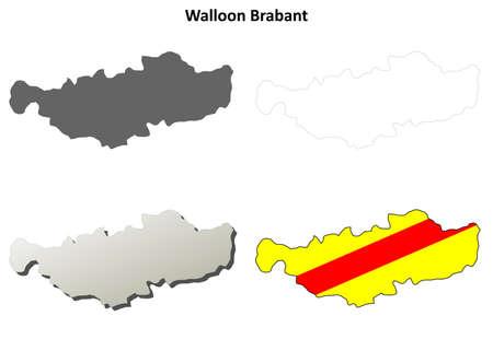 wallonie: Walloon Brabant blank outline map set - Walloon version