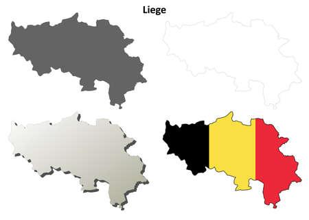 wallonie: Liege blank outline map set - Belgian version