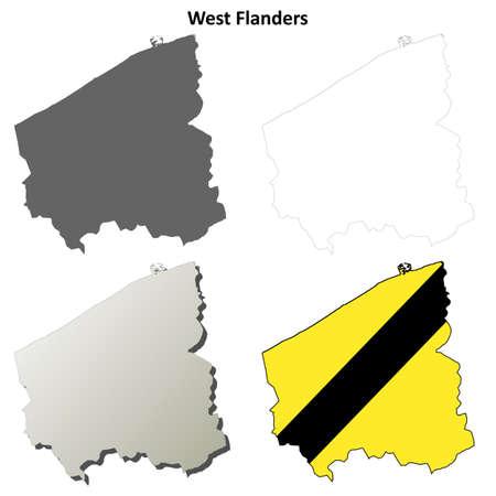 coastlines: West Flanders blank outline map set - Flemish version