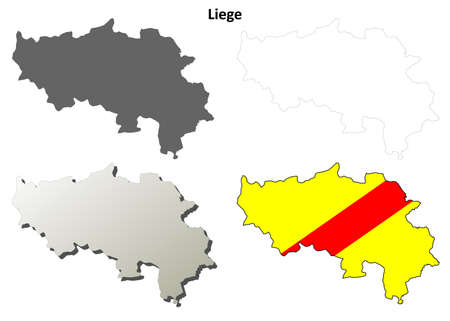 wallonie: Liege blank outline map set - Walloon version Illustration