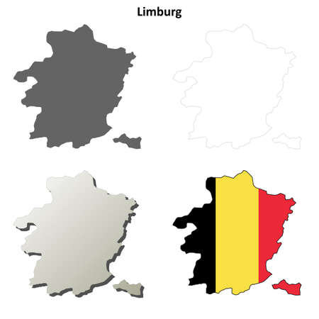 limburg: Limburg blank outline map set - Belgian version