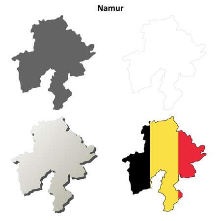 wallonie: Namur blank outline map set - Belgian version