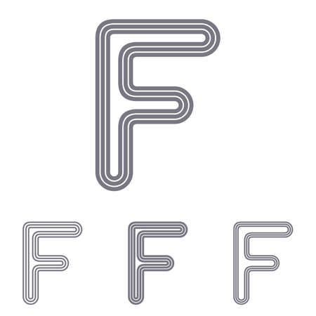 letter f: Grey line letter f  design set