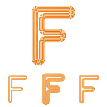 letter f: Orange line letter f  design set
