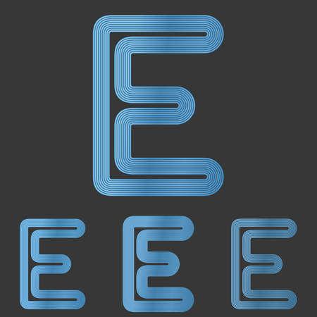 metallic: Blue metallic line letter e  design set Stock Illustratie