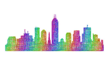 indianapolis: Indianapolis city skyline silhouette - multicolor line art Illustration