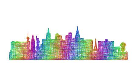 Las Vegas city skyline silhouette - multicolor line art