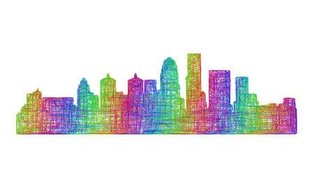 louisville: Louisville city skyline silhouette - multicolor line art
