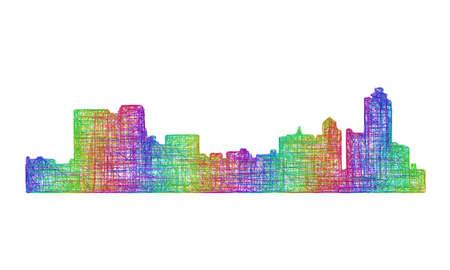 멤피스 도시의 스카이 라인 실루엣 - 여러 가지 빛깔의 라인 아트 일러스트
