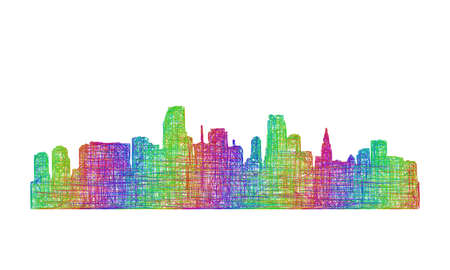 miami: Miami city skyline silhouette - multicolor line art Illustration