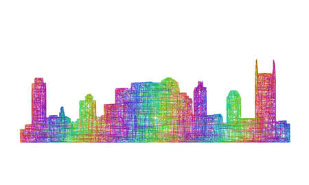nashville: Nashville city skyline silhouette - multicolor line art