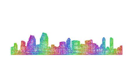 san diego: San Diego city skyline silhouette - multicolor line art