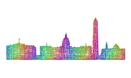 Washington DC city skyline silhouette - multicolor line art Illustration