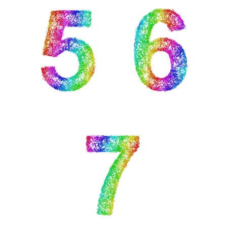 6 7: Rainbow sketch font design set - numbers 5, 6, 7 Illustration