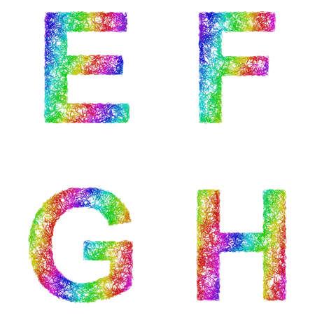 h: Rainbow sketch font design set - letters E, F, G, H