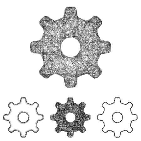 cogwheel: Settings, cogwheel icon design set - sketch line art