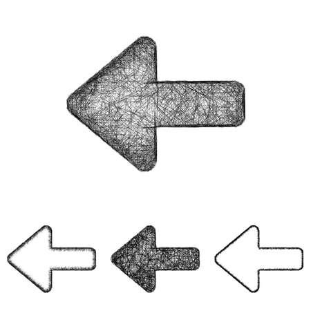 back icon: Back icon design set - sketch line art