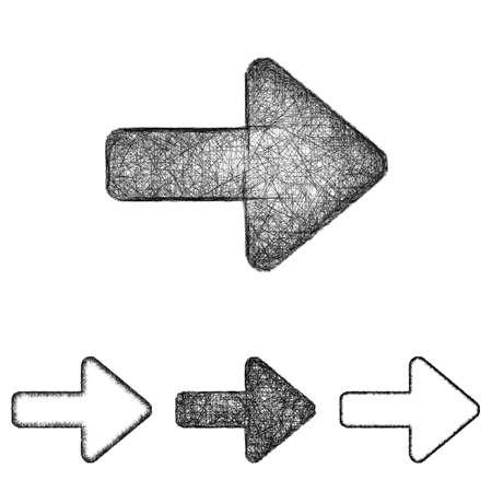 sketched arrows: Forward icon design set - sketch line art
