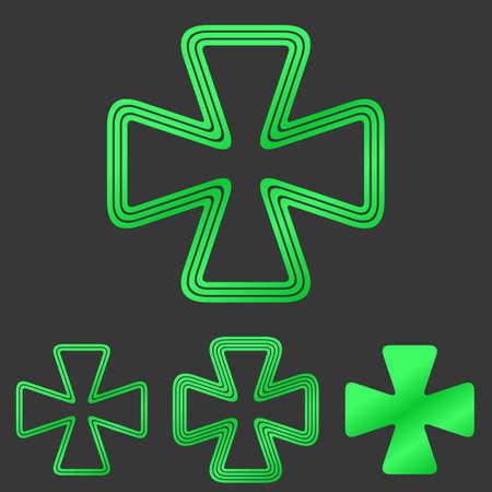 cloverleaf: Green cloverleaf symbol icon vector design set