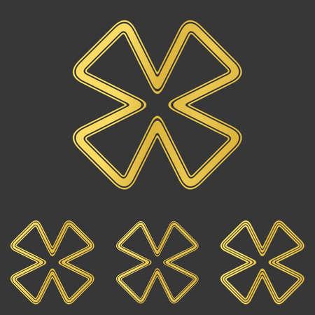 cloverleaf: Golden metal line cloverleaf  design set Illustration