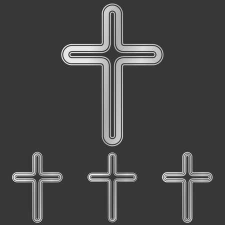 metallic: Silver metallic line cross  design set Stock Illustratie