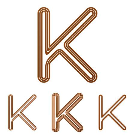 letter k: Brown line k letter  design set