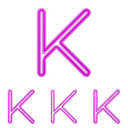 letter k: Magenta line letter k  design set