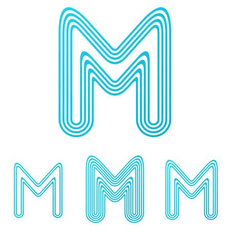 m: Cyan line letter m  design set