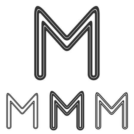 m: Black line m letter  design set