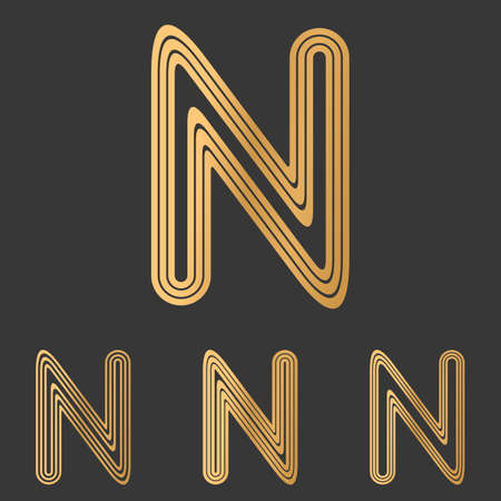 n: Bronze line n letter  design set
