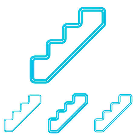 stairs: Cyan line stair icon  design set Illustration