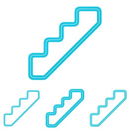 escalera: l�nea cian icono de dise�o conjunto de la escalera Vectores