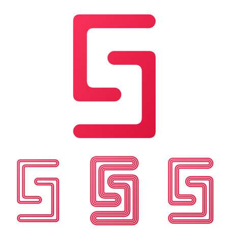 s curve: Crimson line s letter  design set