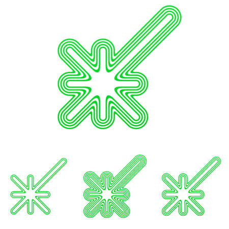 green line: Green line discovery icon  design set Illustration